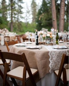 Burlap and Lace Tablescape.....just the tablecloth with lace