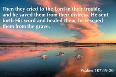 """psalm 107:20  """"By the power of his own word, he healed you and saved you from destruction."""" CEV"""