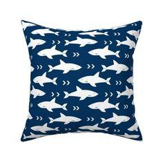navy blue sharks shark fabric boys room - Spoonflower Blue And White Fabric, White Fabrics, Baby Decor, Nursery Decor, Arrow Fabric, Blue Shark, Nursery Inspiration, Sharks, Custom Fabric
