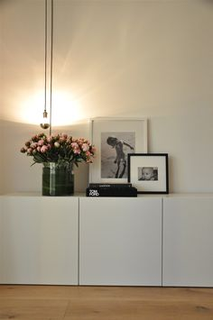 clean white cupboard storage (Ikeas Besta would work) I love love these cupboards, looks amazing, love everything about this, the peonies......ahhh!!!