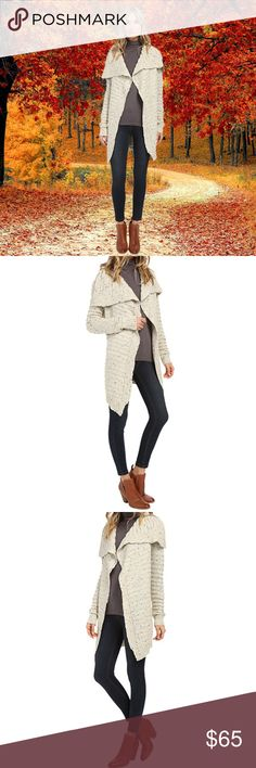 NEW Open Front Oversized Lapel Knit Women Cardigan ✔Stay warm and comfortable this fall in this Raquel Oversized Lapel Women's Cardigan by Brigitte Bailey.   ✔Features: open front, oversized lapel, soft chunky knit.   ✔Color: Cream.   ✔Size: Medium/Large (please see photos for waist, chest, sleeve, elbow, cuff and hem circumference and other measurements).  ✔Material & Care: 100& Acrylic, Hand wash cold, mild detergent.   ✔Condition: Brand New without tags in manufacturer's original…