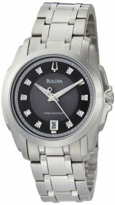 Bulova Men's 96D110 Precisionist Longwood Diamond Black Dial Bracelet Watch Bulova. $365.00. Men's Precisionist diamond dial bracelet watch black dial. Stainless steel case and bracelet. Domed mineral crystal with silver metalized rim; Beveled dauphine hands with flat tip and tail, luminous filled middle. Water-resistant to 99 feet (30 M). 10 diamonds, duet to 96P115, calendar