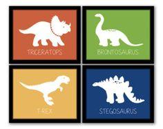 INSTANT DOWNLOAD Dinosaur Wall Art Set of 4 Nursery Art