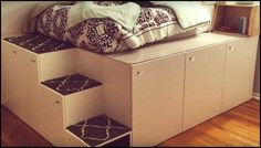 Platform bed with storage made from kitchen cabinets!