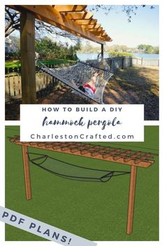 Hammock Stand with Pergola PDF Printable Woodworking Plans Backyard Shade, Backyard Patio, Backyard Landscaping, Diy Backyard Projects, Patio Ideas, Cool Backyard Ideas, Southern Landscaping, Inexpensive Backyard Ideas, Landscaping Edging