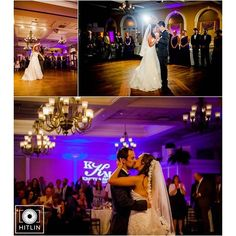 Purple uplighting at wedding as bride and groom have their first dance on the dancefloor wedding reception. Names luminated on walls at wedding reception. Glen Sanders Mansion wedding with Mazzone Hospitality @hitlinphoto
