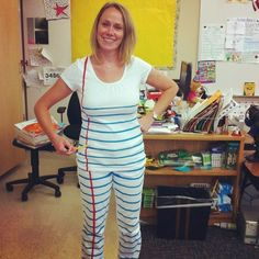 Paint stripes onto a white outfit and you have the perfect costume for a writing teacher.