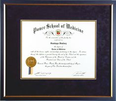 We frame diplomas for showcasing your achievements. This is an example of a framed medical school diploma. Our custom framing includes acid-free mats and 99% UV protected glazing. Visit us at www.cindysantiqueart.com to learn more. #frameddiploma #framedart #framingshop #pictureframer