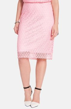 ELOQUII Eyelet Lace Pencil Skirt (Plus Size) available at #Nordstrom
