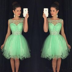 Green Tulle homecoming dresses, See through homecoming dresses, short prom dresses, juniors cocktail dresses, 2710591