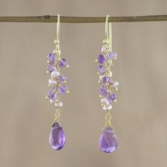 Gold plated amethyst and cultured pearl dangle earrings, 'Paradise Sparkle' Diy Teardrop Earrings, Prom Earrings, Purple Earrings, Cute Earrings, Dangle Earrings, Shell Jewelry, Crystal Jewelry, Wire Jewelry, Jewelry Crafts