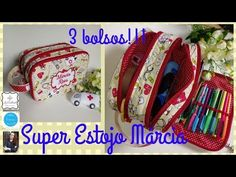 Super estojo TRIPLO Márcia - Essência de Lis - Li Cabral - YouTube Sewing Projects For Beginners, Projects To Try, Purse Tutorial, Art Bag, Diy Purse, Bag Patterns To Sew, Crayon, Free Sewing, Handmade Bags