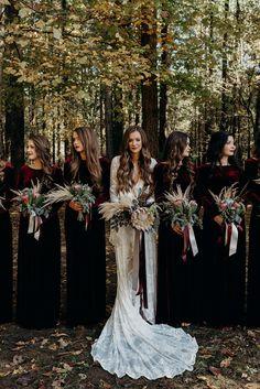 Tennessee Boho Wedding // Lauren + Caleb - The Forwards Photography inspo boho bridesmaid dresses Protea Wedding, Boho Wedding, Dream Wedding, Wedding Flowers, Witch Wedding, Punk Wedding, Wedding Black, Gothic Wedding Ideas, Victorian Gothic Wedding