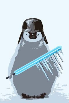 Harshness Star Wars Art Vader Baby Penguin Print