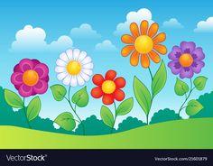 Flower theme image 9 vector image on VectorStock