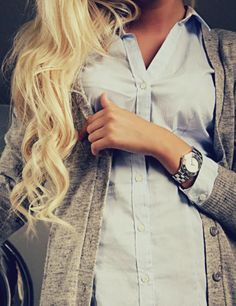 Blue Button Down And a Grey Cardigan