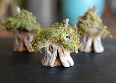 Tiny Gnome Home Miniature Clay and Moss Fairy by gingerlittle
