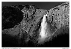 Clif and Takakkaw Falls, one the Canada's highest waterfalls. Yoho National Park, Canadian Rockies, British Columbia, Canada (black and white)