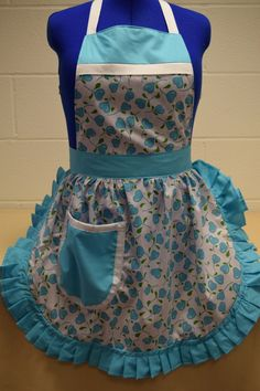 Retro Vintage 50s Style Full Apron / Pinny - Turquoise & White Hearts by FabriqueCreations on Etsy
