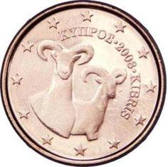 """CIPRO 1 cent: Al centro della moneta è raffigurata una coppia di mufloni, il primo di fronte e il secondo leggermente volto a dx, la specie più caratteristica della fauna protetta del paese. Il nome greco e quello turco dell'isola, e il millesimo di conio inserito tra i due, """"ΚΥΠΡΟΣ 2008 KIBRIS"""", sono incisi a semicerchio sul lato destro sopra ai due animali. Intorno 12 stelle a cinque punte rappresentanti l'Unione Europea."""