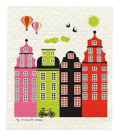 Old Town Stockholm Dish Cloth - by Emelie Ek Design / at designsofsweden.com Swedish Dishes, Swedish Kitchen, Old Town, Cloths, Design, Products, Old City, Drop Cloths, Swedish Cuisine