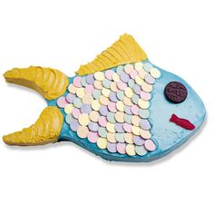 Fish Cake - directions on how to cut a rectangle cake to make the fish shape