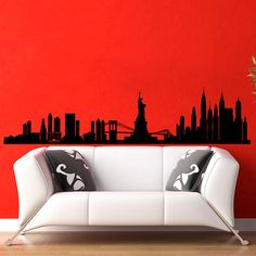 New York Skyline City Silhouette Wall Vinyl Decal by WisdomDecals