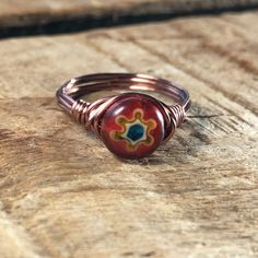 colorful red orange flower glass , antique copper wire wrapped Millefiori Ring - unisex jewelry by MySoulCanDance on Etsy