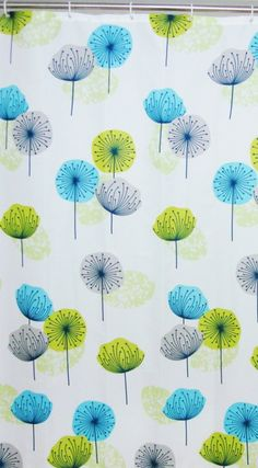 """Blue Canyon """"Dandelion"""" shower curtain. This beautiful, stylish shower curtain will certainly add a point of interest to dull bathrooms. Pick out the lime green, teal on silver on other items too."""