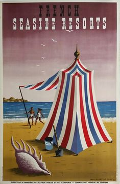 21a06340cc5 Original vintage poster France seaside resorts 1947 - Jean Picart Le Doux