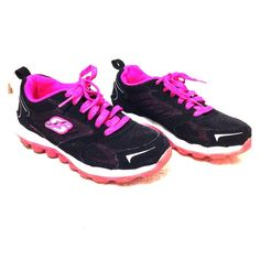Skechers Skech-Air pink and black Pink and black skechers, size 1.5 kids /youth. Still im excellent wearable condition. No holes or rips or any stains. Except for tiny hole at the bottom of the rubber shoes!. Thanks for looking and comes in a pet smoke free home! Skechers Shoes Athletic Shoes