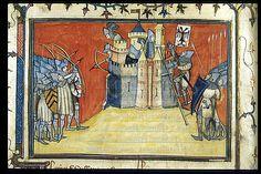 Taking of Valonges - Detail, Yates Thompson 35, Fol 80v, ~1380-92, La chanson de Bertrand du Guesclin, British Library