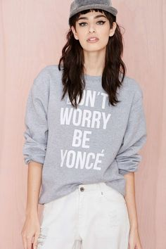 Stylestalker Don't Worry Sweatshirt - Gray | Shop Graphics at Nasty Gal
