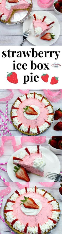 This Strawberry Icebox Pie is a no bake pie recipe features a filling that's creamy and fluffy with a tart and sweet flavor. Summer Dessert Recipes, Easy No Bake Desserts, Frozen Desserts, Desert Recipes, Frozen Treats, Strawberry Pie, Strawberry Desserts, Blueberry Desserts, Jell O