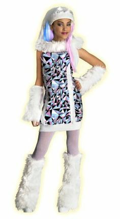 """Monster High Abbey Bominable Costume Rubie's Costume Co. $14.53. A complete costume all in one, just add boots. Have a party, trick-or-treat or just dress up for play time. Since 1950 Rubie's Costume Company has been making dress-up fun with costumes and accessories for the entire family. Child's size Large fits most 8 to 10 year old olds, 56"""" to 60"""" tall. Polyester"""