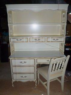 Vintage 4 Piece French Provincial Girls Bedroom Set Desk, Shelves And Canopy