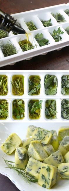 What to do with leftover herbs - freeze them in icecube trays with water or olive oil. Great for soups and pestos.
