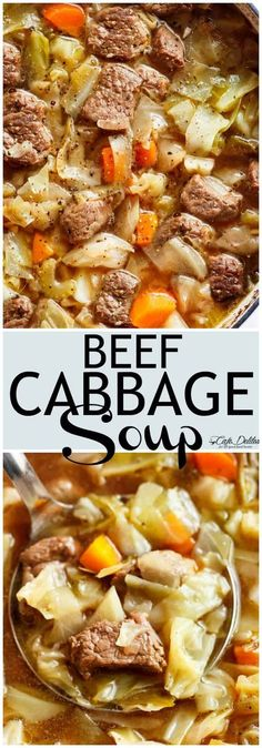 Beef Cabbage Soup is quick to make healthy low in carbs and full of delicious flavour! Made with minimal ingredients full of cabbage carrots onions garlic and tender fall apart beef! Low fat low carb healthy diet approved and so super filling yo Crock Pot Recipes, Beef Soup Recipes, Cabbage Soup Recipes, Crock Pot Soup, Healthy Recipes, Lower Carb Recipes, Low Fat Crockpot Recipes, Healthy Low Fat Meals, Crock Pot Sausage