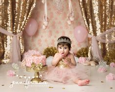 Pink and gold one year pictures, cake smash, ballerina theme, crown, tutu Image by 1st Birthday Photoshoot, 1st Birthday Party For Girls, Ballerina Birthday, Barbie Birthday, Princess Birthday, Princess Smash Cakes, Smash Cake Girl, Girl Cakes, Cake Smash Photography