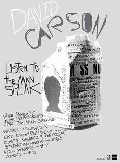 Best Ideas For Design Poster Typography David Carson - Beauty Black Pins David Carson Design, David Carson Work, Graphic Design Posters, Graphic Design Typography, Graphic Design Inspiration, Poster Designs, Graphic Designers, Design Ideas, Deconstructivism