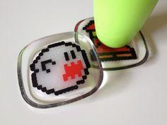 perler beads + resin