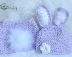 Newborn Baby Crochet Bunny Hat with Skirt Cover Outfit - Photo Props, Photography Props, Easter (available in different color )