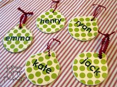 Wooden blank ornaments, scrapbook paper, Mod Podge, details....