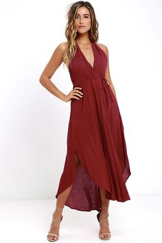 The Was it a Dream Berry Red Midi Halter Dress will have you dancing on cloud nine! Gauzy woven rayon shapes a tying halter neckline atop a wrap bodice with waist tie (and hidden button closure). Twin side slits and a rounded hem finish off the breezy skirt.