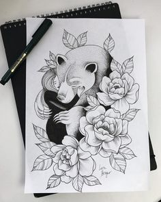 bear hug tattoo sketch by @generated