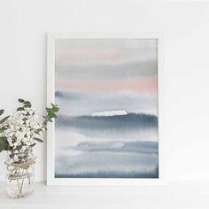 Abstract Watercolor Painting Large Oversized Blue and Pink Artwork Modern Poster Coastal Home Decor Art Print or Canvas Watercolor Design, Abstract Watercolor, Watercolor Paintings, Watercolour, Painting Art, Nursery Prints, Nursery Wall Art, Wall Art Prints, Nursery Decor