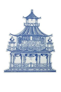 Blue Chinoiserie Pagoda Placemats Set of 4