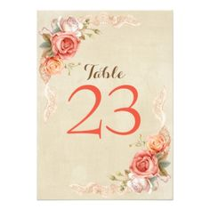 Shabby Chic Elegant Floral Wedding Table Card - rustic gifts ideas customize personalize