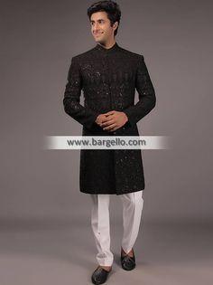 - High Quality Menswear Sherwani - For order & Inquiry U.K: 0208 Australia: Reception Suits, Mens Measurements, White Kurta, Pakistani Bridal Dresses, Shalwar Kameez, Sherwani, Groom Dress, Bradford, Black Fabric