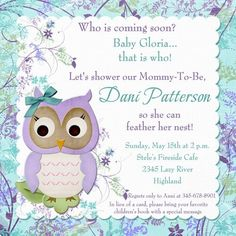 This garden flower owl baby shower invitation welcomes your guests to see whoo is coming soon!